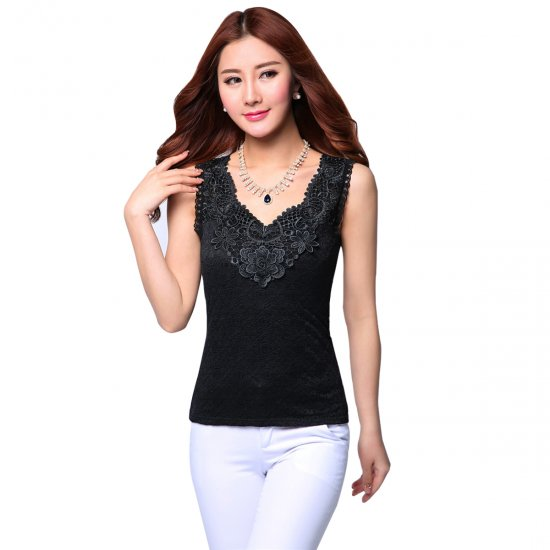 Women Summer lace Camisole Modal Slim Vest Bottoming Black Shirt WC-154BK image