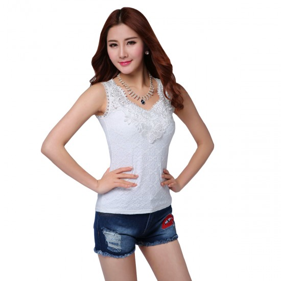 Women Summer lace Camisole Modal Slim Vest Bottoming White Shirt WC-154W image