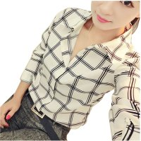 Women Fashion Lattice Simple Black And White Long-Sleeved Shirt WC-155W