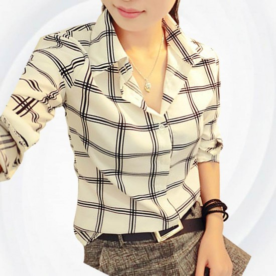 Women Fashion Lattice Simple Black And White Long-Sleeved Shirt WC-155W image