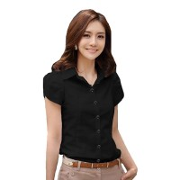 Women Fashion Summer Black Cotton shirt with short sleeve WC-156BK