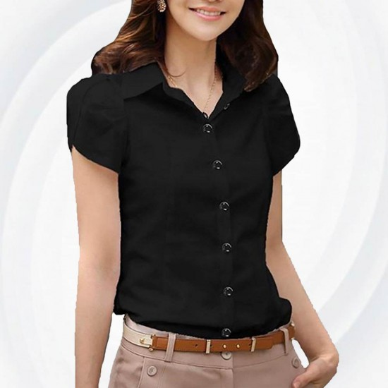 Women Fashion Summer Black Cotton shirt with short sleeve WC-156BK image