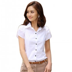 Women Fashion Summer White Cotton shirt with short sleeve WC-156W