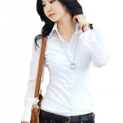 Women Summer Cotton Long Sleeves White Casual Shirt WC-157W