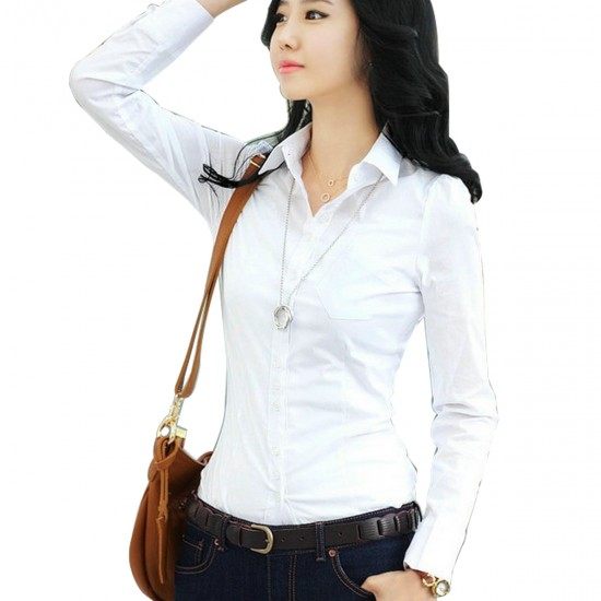 Women Summer Cotton Long Sleeves White Casual Shirt WC-157W image