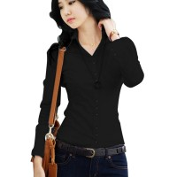 Women Summer Cotton Long Sleeves Black Casual Shirt WC-157BK