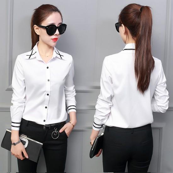 Women Summer Ribbon Splicing Lapel long-Sleeved Slim Shirt WC-159W image