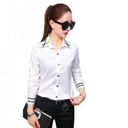 Women Summer Ribbon Splicing Lapel long-Sleeved Slim Shirt WC-159W