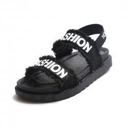 Women Hollow Flat Open Toe Thick Bottom Sandal S-94BK