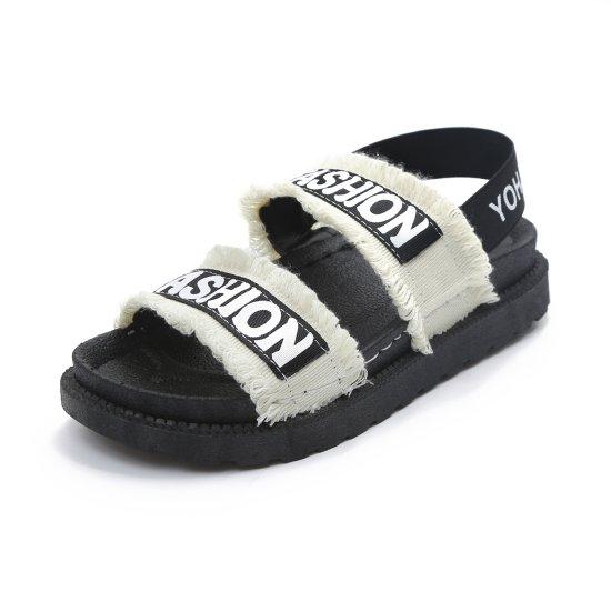 Women Flat Hollow Open Toe Thick Bottom Sandal S-94W image
