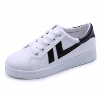 Women Black Strapped White Comfort Sports Jogger Shoes S-96WB
