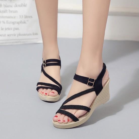 New Open Toe Slope Black Strap High Wedge Sandals S-97BK image