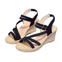 New Open Toe Slope Black Strap High Wedge Sandals S-97BK