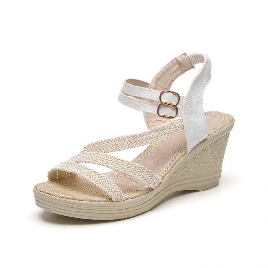 New Open Toe Slope White Strap High Wedge Sandals S-97W image