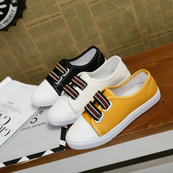 Women Black Flat Bottom Canvas Sneaker Shoes S-98BK image