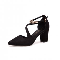Professionals Women Black High Heeled Beaded Buckle Sandals Shoes S-99BK