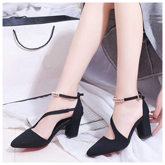 Professionals Women Black High Heeled Beaded Buckle Sandals Shoes S-99BK image