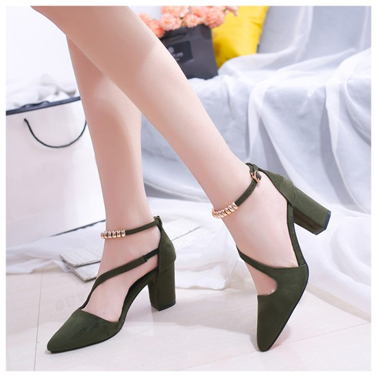 Professionals Women Green High Heeled Beaded Buckle Sandals Shoes S-99GN image