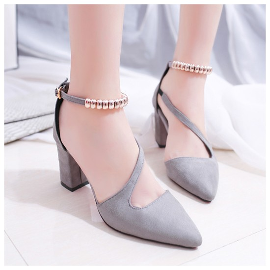Professionals Women Grey High Heeled Beaded Buckle Sandals Shoes S-99GR image