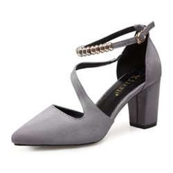 Professionals Women Grey High Heeled Beaded Buckle Sandals Shoes S-99GR