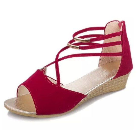 Summer Red Comfort Strap Solid Low-heeled Sandals S-100RD image