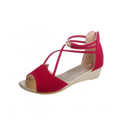 Summer Red Comfort Strap Solid Low-heeled Sandals S-100RD