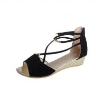 Summer Black Comfort Strap Solid Low-heeled Sandals S-100BK