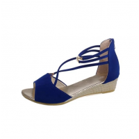 Summer Blue Comfort Strap Solid Low-heeled Sandals S-100BL