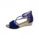 Summer Blue Comfort Strap Solid Low-heeled Sandals S-100BL