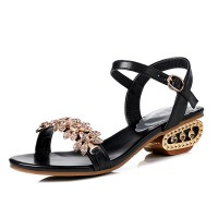 Stylish Female Summer New Fish Mouth Diamond High Heel Buckle Sandals S-101BK