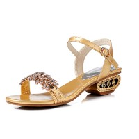 Stylish Female Summer New Fish Mouth Diamond High Heel Buckle Sandals S-101GD