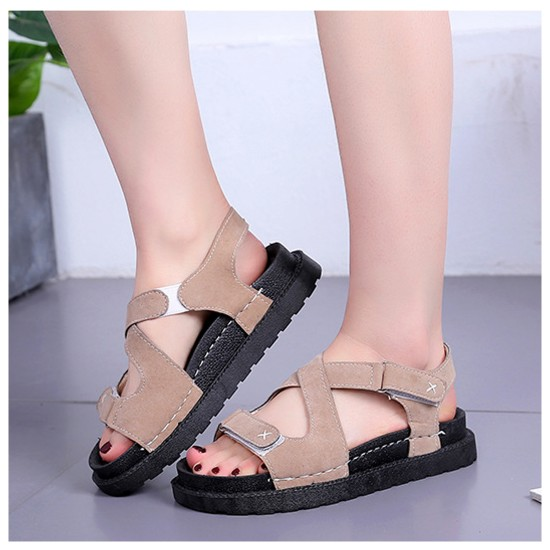 New Muffin Bottom Sandals Leather Cross Strap Sandals S-102BR image