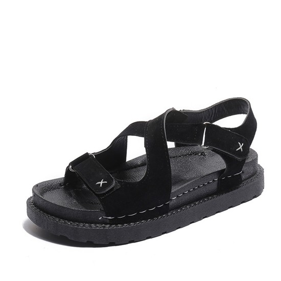 New Muffin Bottom Sandals Leather Cross Strap Sandals S-102BK image