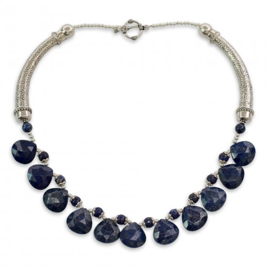 Jaipuri Blue Lapis Lazuli Necklace on Sterling Silver Indian Jewelry ANDN-42