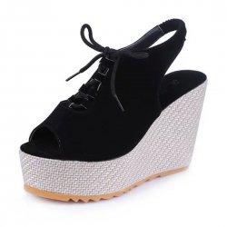 Stylish Waterproof Women Slope High Heeled Wedge Sandal Shoes S-104BK