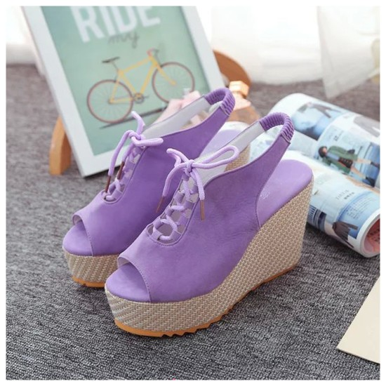 Stylish Waterproof Women Slope High Heeled Wedge Sandal Shoes S-104PL image
