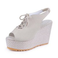 Stylish Waterproof Women Slope High Heeled Wedge Sandal Shoes S-104CR