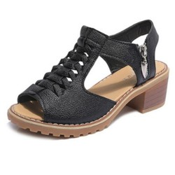 Women Stylish Summer Rough Waterproof  With Side Zip Sandals S-105BK