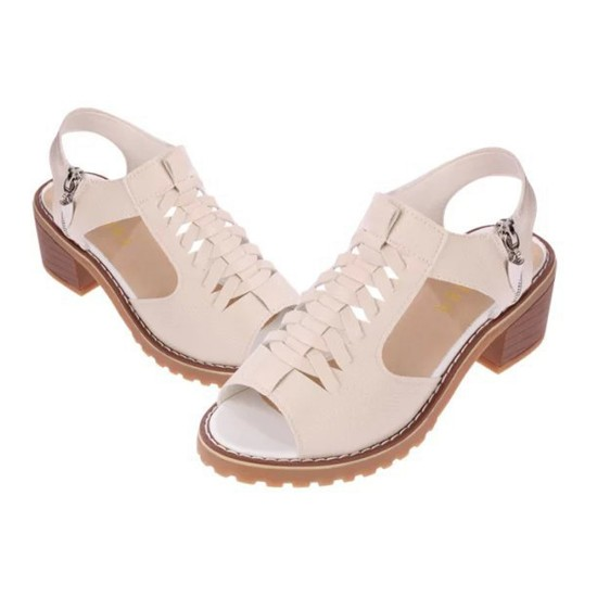 Women Stylish Summer Rough Waterproof With Side Zipper Sandals S-105BR |image