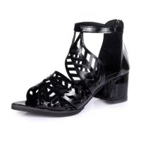 Flower Style Women Hollow Sandals thick with high-heeled Sandals S-106BK