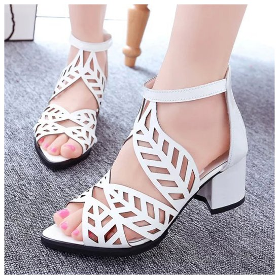 Flower Style Women Hollow Sandals thick with high-heeled Sandals S-106SL image