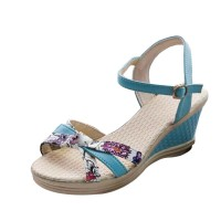 Women Summer Thick-soled high-heeled Sweet Printing Buckle Sandals S-107BL