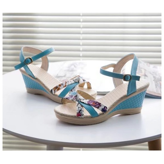 Women Summer Thick-soled high-heeled Sweet Printing Buckle Sandals S-107BL image