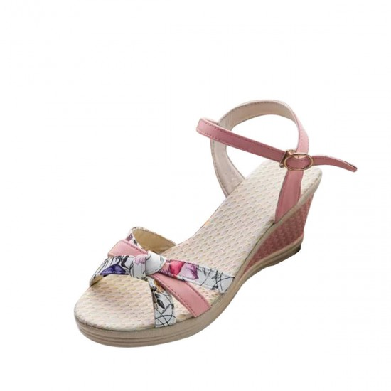 Women Summer Thick-soled high-heeled Sweet Printing Buckle Sandals S-107PK image