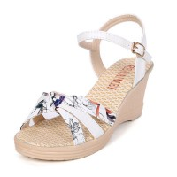 Women Summer Thick-soled high-heeled Sweet Printing Buckle Sandals S-107W