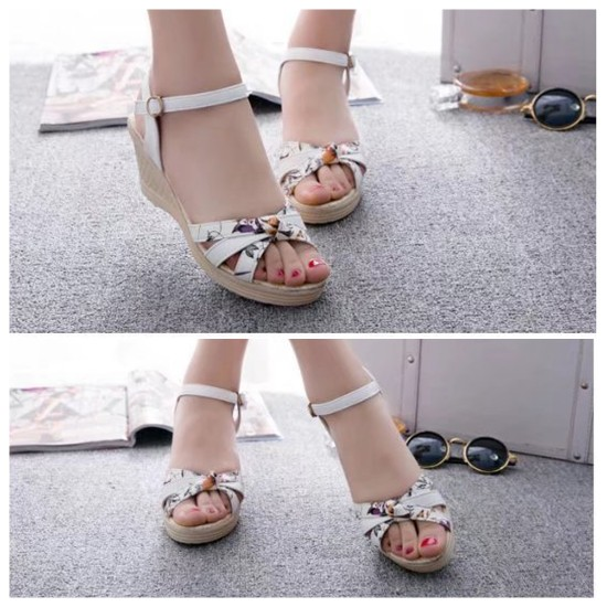 Women Summer Thick-soled high-heeled Sweet Printing Buckle Sandals S-107W image