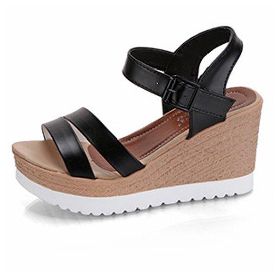 Women Summer New Thick bottom Comfort Walking High heel open toe Sandal S-108BK image