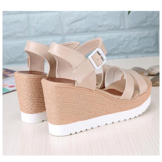 Women Summer New Thick bottom Comfort Walking High heel open toe Sandal S-108C image