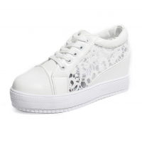 Women White High Slope Hollow Breathable Mesh Sneaker Shoes S-109W
