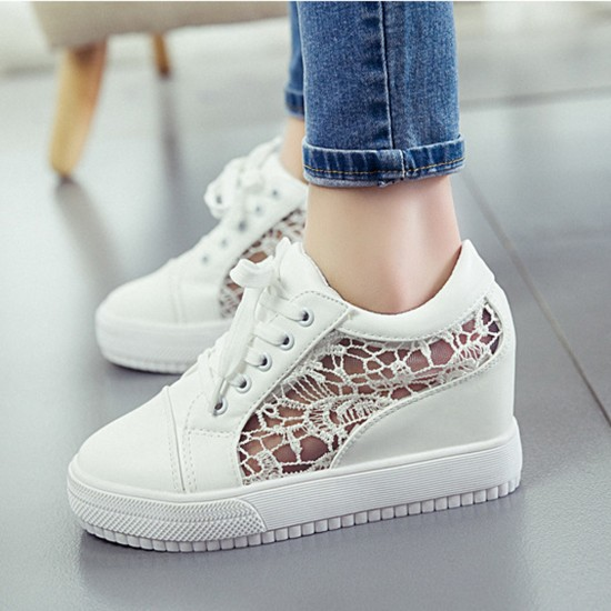 Women White High Slope Hollow Breathable Mesh Sneaker Shoes S-109W image